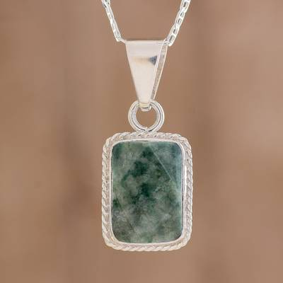 Jade pendant necklace, 'Roped Facets' - Faceted Jade Pendant Necklace from Guatemala