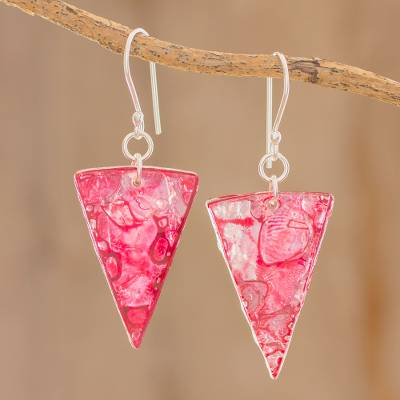 Recycled CD dangle earrings, 'Pink Triangles' - Pink Triangular Recycled CD Dangle Earrings from Guatemala