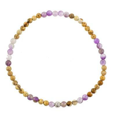 Jade and Amethyst Beaded Stretch Anklet from Guatemala