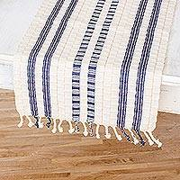 Cotton table runner, 'Splendid Contrast' - Guatemalan Cotton Table Runner in Ivory with Blue Stripes