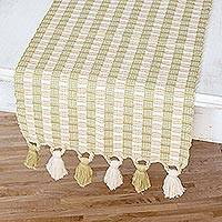 Reversible cotton table runner, 'Textured Treasure' - Loom Woven Green and Beige Striped 100% Cotton Table Runner