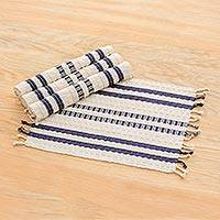 Cotton placemats, 'Splendid Contrast' (set of 4) - Handwoven Striped Cotton Placemats (Set of 4) from Guatemala