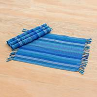 Cotton placemats, 'Blue Oceans' (set of 4) - Guatemalan Cotton Placemats with Blue Stripes (Set of 4)