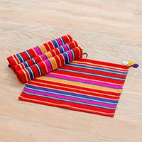 Cotton placemats, 'Antigua Landscape' (set of 4) - Guatemalan Colorful Striped 100% Cotton Placemats (Set of 4)
