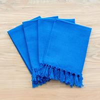Cotton napkins, 'Blue Expanse' (set of 4) - Handmade Blue 100% Cotton Napkins from Guatemala (Set of 4)