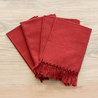 Cotton napkins, 'Rich Earth' (set of 4) - Loom Woven Red 100% Cotton Napkins from Guatemala (Set of 4)