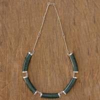 Jade pendant necklace, 'Mayan Power in Dark Green'