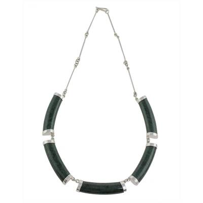 Jade pendant necklace, 'Mayan Power in Dark Green' - Jade Link Pendant Necklace in Dark Green from Guatemala