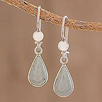 Jade dangle earrings, 'Apple Green Tears' - Drop-Shaped Jade Dangle Earrings in Apple Green