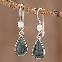 Jade dangle earrings, 'Dark Green Tears' - Drop-Shaped Jade Dangle Earrings in Dark Green