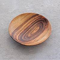 Wood bowl, 'Taste of Nature' - Handcrafted Jobillo Wood Serving Bowl from Guatemala