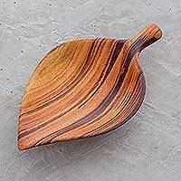Wood appetizer bowl, 'Jungle Delicacies' - Leaf-Shaped Wood Appetizer Bowl from Guatemala