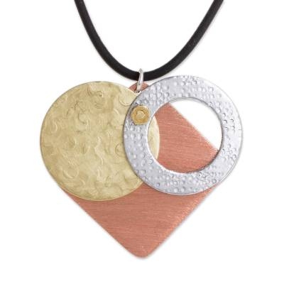 Modern Geometric Copper and Brass Pendant Heart Necklace