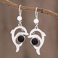 Jade dangle earrings, 'Black Dolphin' - Jade Dolphin Dangle Earrings in Black from Guatemala