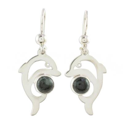 Jade dangle earrings, 'Dark Green Dolphin' - Dolphin-Shaped Dark Green Jade Earrings from Guatemala
