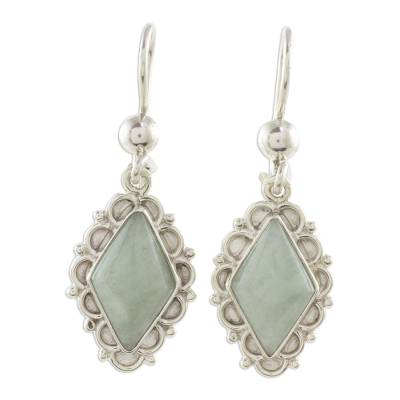 Jade dangle earrings, 'Apple Green Diamond Dahlia' - Apple Green Jade Diamond-Shaped Earrings from Guatemala