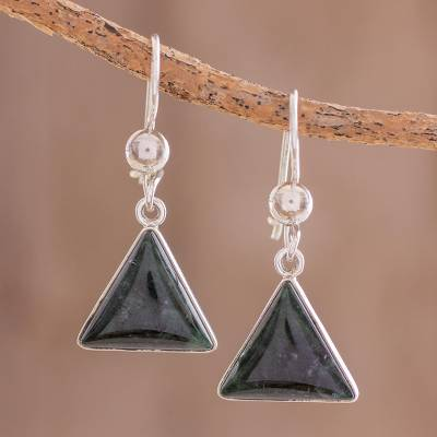 Jade dangle earrings, 'Dark Green Triangle of Life' - Triangular Dark Green Jade Dangle Earrings from Guatemala
