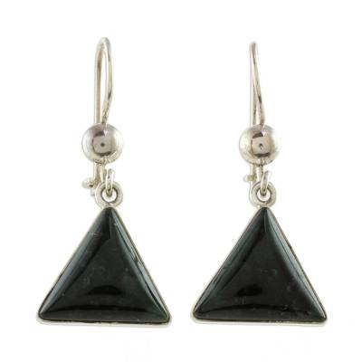 Triangular Dark Green Jade Dangle Earrings from Guatemala