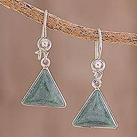 Jade dangle earrings, 'Green Triangle of Life' - Green Triangular Jade Dangle Earrings from Guatemala