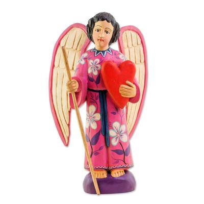 Wood sculpture, 'Loving Angel' - Hand-Painted Wood Loving Angel Sculpture from Guatemala