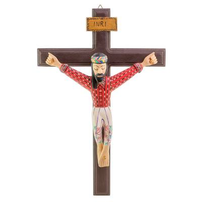 Hand-Painted Wood Wall Cross from Guatemala