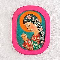 Wood relief panel, 'Beautiful Guadalupe' - Hand-Painted Mary Pinewood Relief Panel from Guatemala