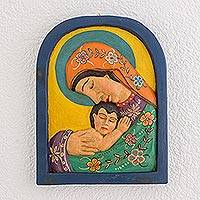Wood relief panel, 'Sacred Love' - Mary and Jesus Pinewood Relief Panel from Guatemala