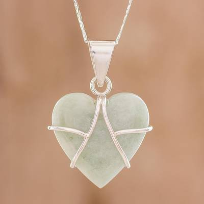 Jade pendant necklace, 'Hopeful Destiny' - Jade and Sterling Silver Heart Pendant Necklace