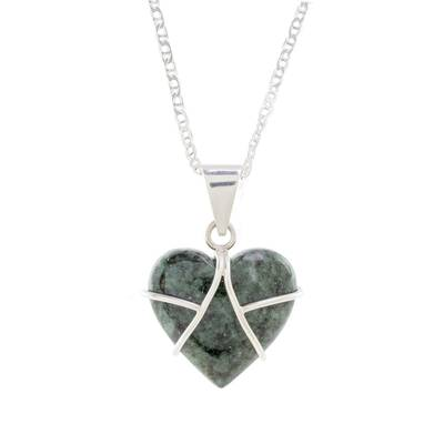 Jade pendant necklace, 'Loving Destiny' - Jade and Sterling Silver Heart Pendant Necklace