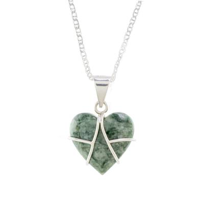 Jade pendant necklace, 'Magical Destiny' - Jade and Sterling Silver Heart Pendant Necklace