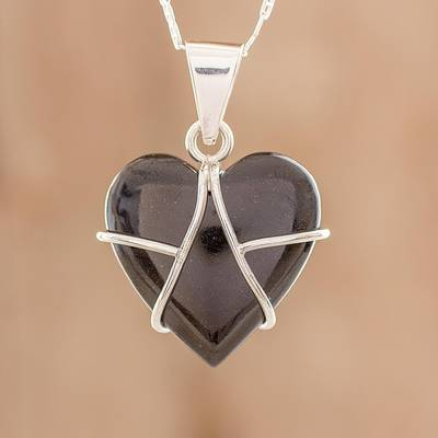 Jade pendant necklace, 'Inspiring Destiny' - Black Jade and Sterling Silver Heart Pendant Necklace