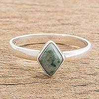 Jade single stone ring, 'Love Rhombus in Green' - Green Rhombus Jade Single Stone Ring from Guatemala