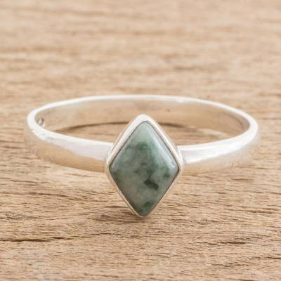 6a28c21884e4a0 Jade single stone ring, 'Love Rhombus in Green' - Green Rhombus Jade Single