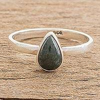 Jade single stone ring, 'Dark Green Ancient Drop'