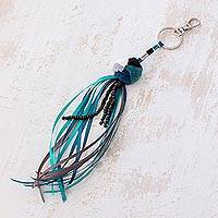 Cotton keychain, 'Sky Streams' - Blue Cotton Pompom and Ribbon and Bead Tassel Keychain