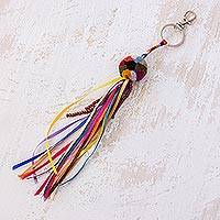 Cotton keychain, 'Color Stream' - Multicolor Cotton Pompom Ribbon and Bead Tassel Keychain