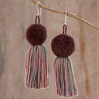 Cotton dangle earrings, 'Kaleidoscope Cascade' - Cotton Multicolor Tassel Brown Pompom Dangle Earrings