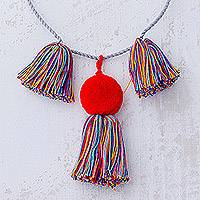 Cotton pendant necklace, 'Sun Stream' - Cotton Multicolor Tassel Red Pompom Pendant Cord Necklace