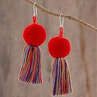 Cotton dangle earrings, 'Sun Stream' - Cotton Multicolor Tassel Red Pompom Dangle Earrings