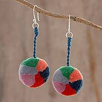 Cotton dangle earrings, 'Lollipop Swirl' - Handcrafted Cotton Multicolor Pompom Dangle Earrings