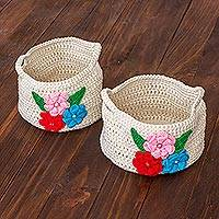 Cotton mini decorative baskets, 'Spring Delicacy' (pair) - Pair of Crocheted Cotton Mini Baskets from Guatemala