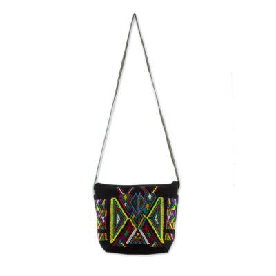Geometric Cotton Sling in Black from Guatemala