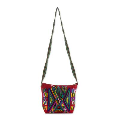 Geometric Cotton Sling in Red from Guatemala