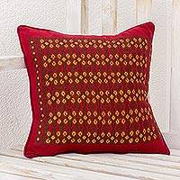 Cotton cushion cover, 'Sacred Shapes' - Red Cotton Cushion Cover with Geometric Motifs