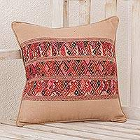 Cotton cushion cover, 'Ancestral Depictions in Wheat' - Handwoven Cotton Cushion Cover in Wheat from Guatemala