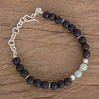 Jade beaded bracelet, 'Secret of Nature' - Jade and Lava Stone Beaded Bracelet from Guatemala