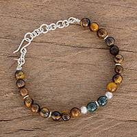 Jade and tiger's eye beaded bracelet, 'Natural Beads' - Jade and Tiger's Eye Beaded Bracelet from Guatemala