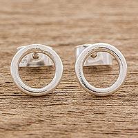 Sterling silver stud earrings, 'Rings of Harmony'