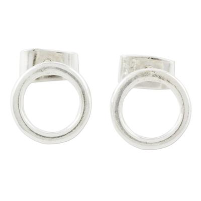 Sterling silver stud earrings, 'Rings of Harmony' - Circular Sterling Silver Stud Earrings from Guatemala