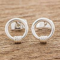 Sterling silver stud earrings, 'Rope of Harmony' - Sterling Silver Stud Earrings Crafted in Guatemala
